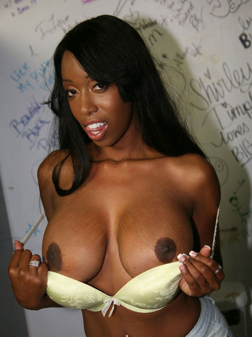 Saucy Black Chick With Amazingly Big Boobs Codi Bryant Loves Climbing The White Stick