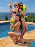 Hottest Chicks Melisa Mendiny, Kala Ferard And Little Caprice Play With Water Guns Outdoor