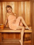 Smoldering Hot Blonde Babe Crystal Klein Poses In Sauna And Touches Her Clit